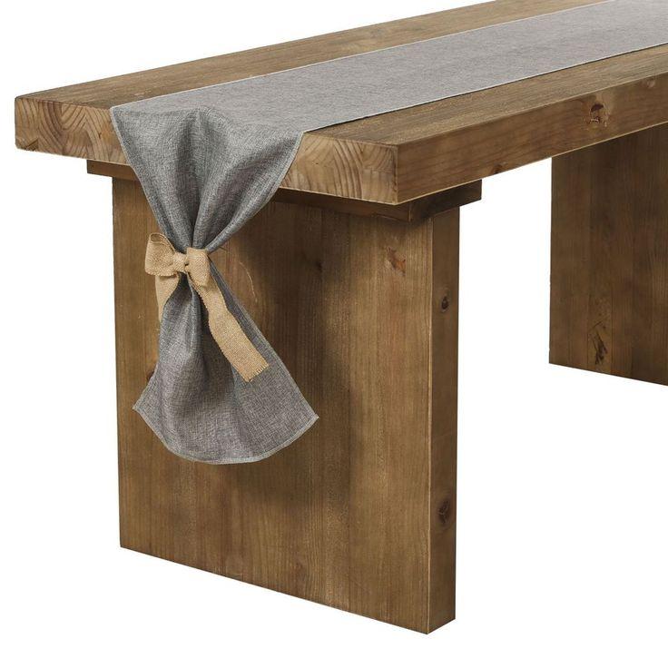 Gray Burlap Linen Table Runner Bow Ties Wedding Bridal Shower Baby Shower Party  #TableRunner