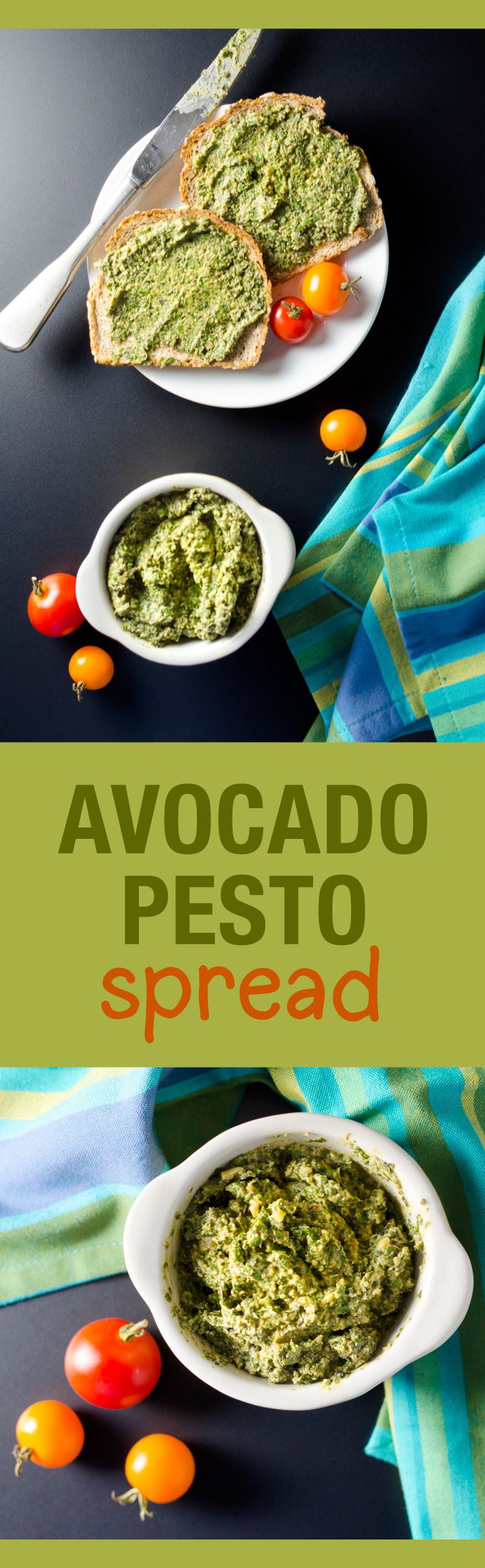 Avocado Pesto Spread - vegan | VeggiePrimer.com  All the cheesy, garlic, basil flavor you associate with pesto without the dairy or processed oil. #vegan #wholefoods