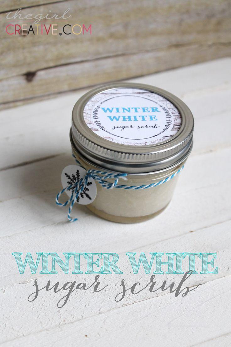 Winter White Sugar Scrub from thegirlcreative.com #beauty #sugarscrub #homemadeproducts