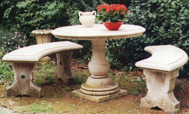 table with benches in italian Vicenza limestone - design by Garden Ornaments Stone srl - www.gardenorn.com