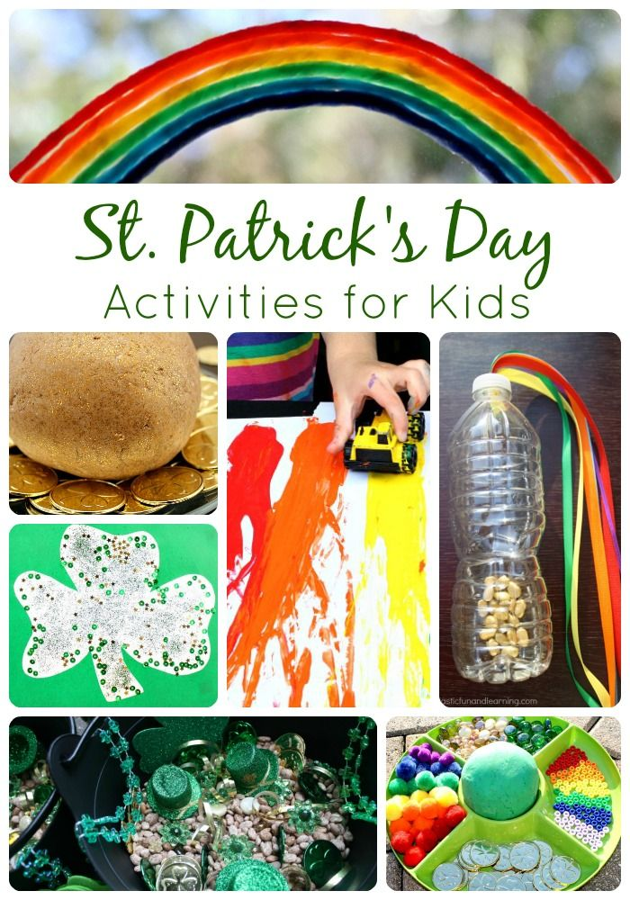 St. Patrick's Day activities including play ideas, crafts, and play dough invitations for kids