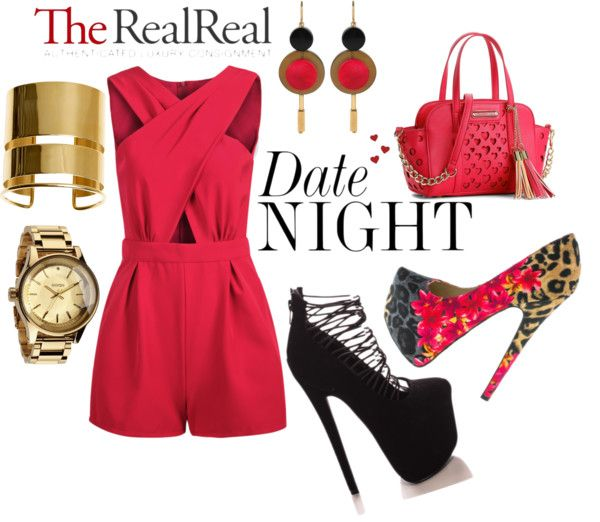 """""""Date Night Dressing with The RealReal: Contest Entry"""" by vincentdw ❤ liked on Polyvore"""