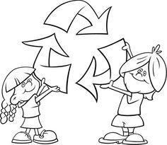 Reciclar es importante. La importancia de reciclar. Dos niños sostienen el símbolo del reciclaje.