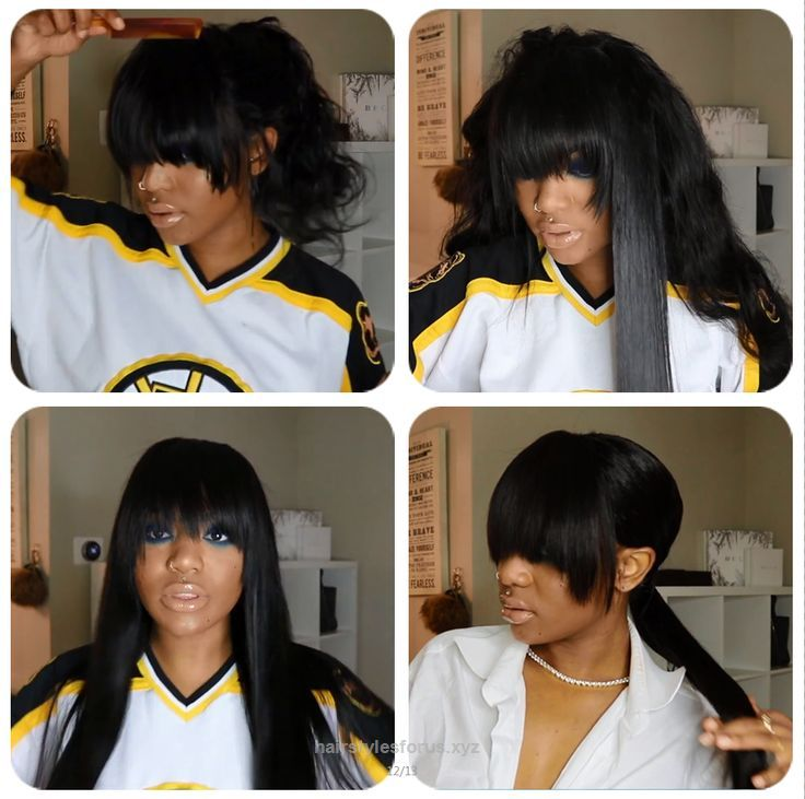 Look Over This Choppy Bangs Quick Weave Cut and Low ponytail styling using DSoar hair Brazilian body wave hair 18 20 22inch with a 18″ free part lace frontal. #DSoarHair #bodywavehair #straighthair #cu ..