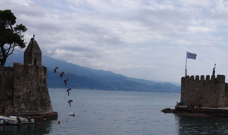Naupaktos port, a dive from the castle tower, May 2014