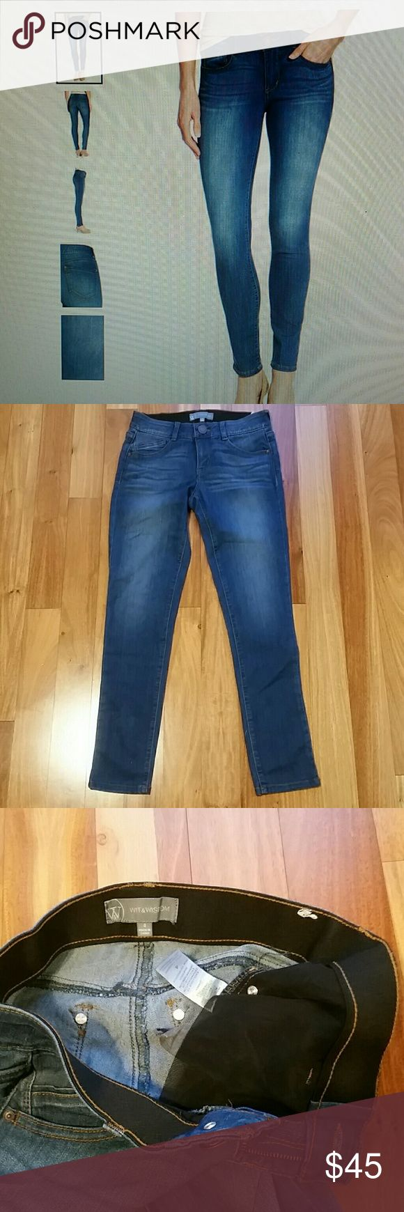 """WIT & WISDOM AB-SOLUTION STRETCH SKINNY JEANS IT WAS STORE DISPLAY WITH A SMALL DEFECT. IN TWO PLACES HAS A MARKS  (LOOK LIKE MORE FADED COLOR,SEE PIC)SZ 4. ZIP FLY WITH BUTTON CLOSURE. 5 POCKETS STYLE. 54% COTTON 27% RAYON 17 % POLYESTER 2% SPANDEX. MID RISE. 4=27.AB-SOLUTION POWER MESH PANELS TO SLIM AND HOLD ,INCLUDING A WAISTBAND WITH INTERIOR CONTROL AND BOOTY-LIFT CONSTRUCTION. 28"""" INSEAM 36"""" LENGTH 14"""" WAIST 8.5"""" FRONT RISE. ALL MEASUREMENTS ARE TAKING WITH THE GARMENT LYING FLAT…"""
