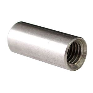 Use as the back part of the standoff hardware. Use a finished mirror screw and cover cap for the front.   Metric Round Coupling Nut