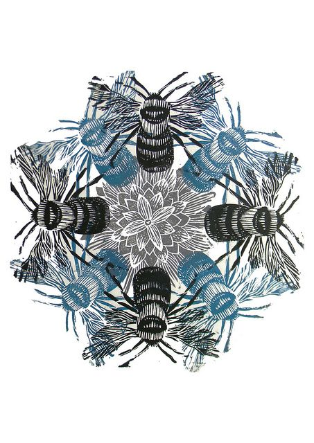 ✽✽   'bee'   -   linocut   -   mangle prints - flickr
