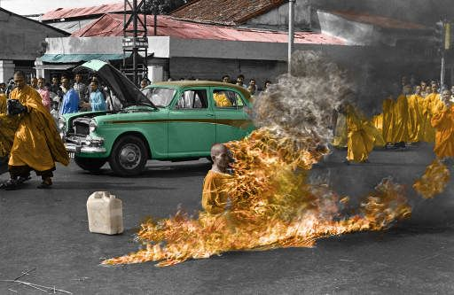 This is a colorized version of a famous picture of a protesting Tibetan monk who is engaging in self immolation.  In my opinion this is the most brutal and most desperate form of protest.  This photograph is very moving and really shows the desperation of those in his situation.  I do not know if I will ever be in a situation that will make me go to the extreme that this monk did.  It makes me feel very fortunate to be born in such a great place like America where we are not oppressed like…