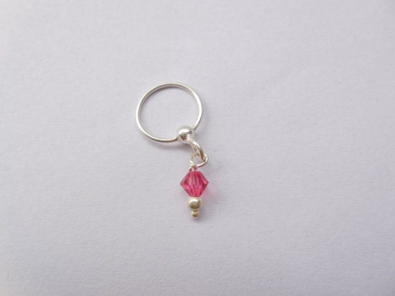 Unique Silver nose ring  with Pink hanging by Gemstonebeadsfinding