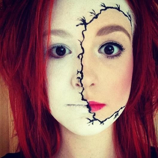 stitched face halloween makeup---this is actually pretty cool.