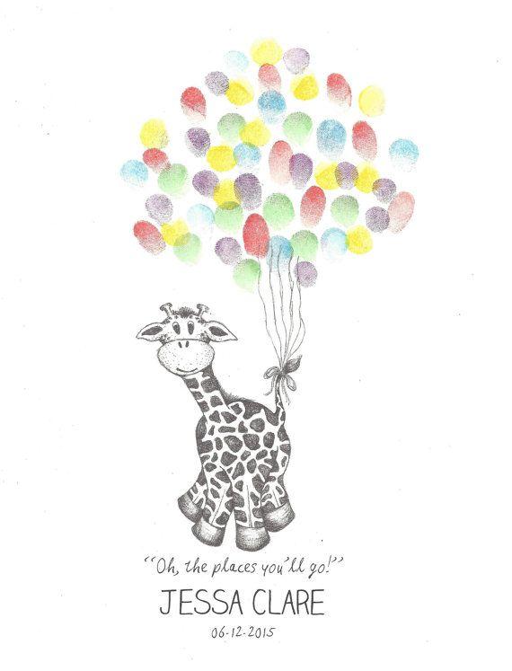 Giraffe being lifted by bundle of Balloons, Fingerprint Guest Book, Shower, Birthday, Party, Art, Pen, Ink, Custom Printable Design