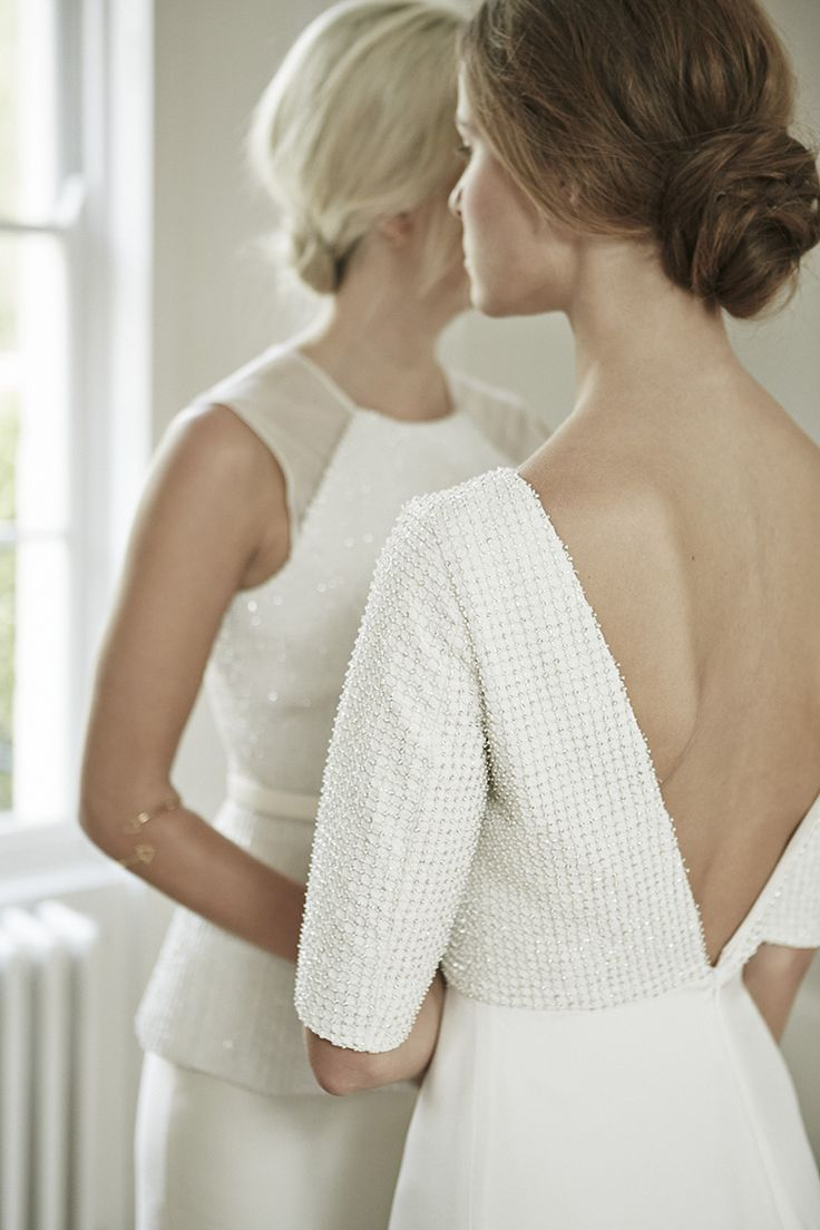 Charlotte Simpson V back, backless wedding dress with sleeve and embroidery details