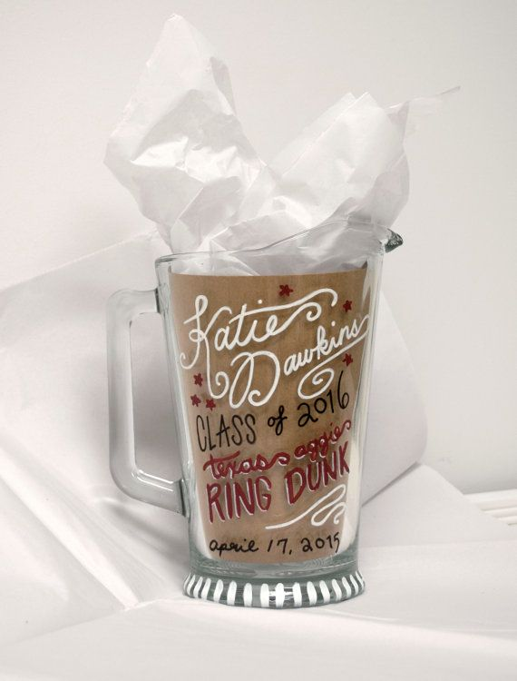 Custom designed & hand painted ring dunk pitcher! Aggie essentials; texas aggies; aggie ring day gifts!