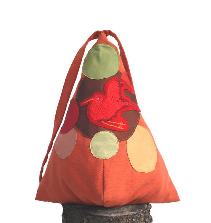 Orange backpack with a little red bird! by StrofediStoffa su Etsy