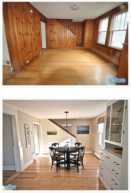 Before & After -- outdated paneled walls to FABulous space.   http://www.betterafter.net/2012/12/cottage-geez.html?m=1