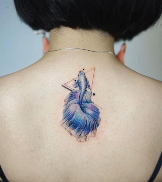 Blue betta fish tattoo by Nando