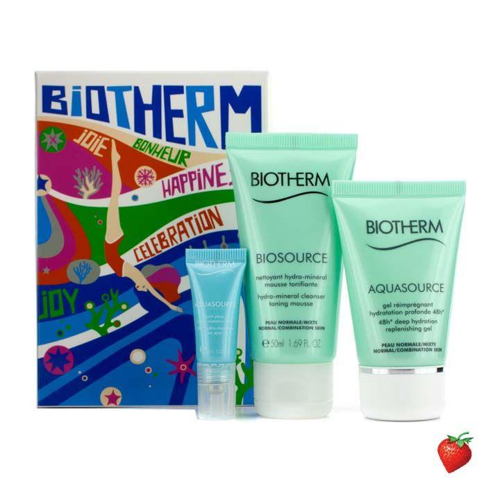 Biotherm Aqua Trio: Aquasource Gel 30ml + Aquasource Eye Perfection 4ml + Biosource Toning Mousse 50ml 3pcs #Biotherm #Skincare #Travel #Summer #Beauty #HotPick #FREEShipping #StrawberryNET