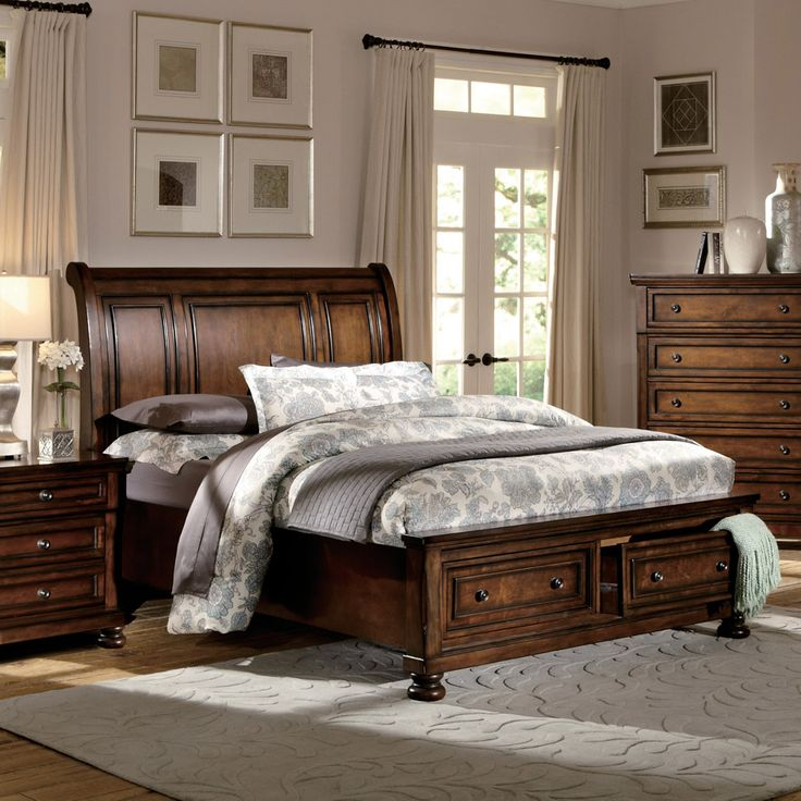 Daybeds, Low Price California King Size Platform Beds, Full Size Panel Beds, Queen Metal Beds, Twin Beds with Footboard at eFurniture Mart. Free shipping.    Homelegance Cumberland Storage Sleigh Bed in Rich Medium Brown. A classic addition to your transitional bedroom will be the Cumberland collection. Traditional accents such as, the bun foot that supports each piece and rich medium-brown finish on birch veneer and select hardwood blend with fr
