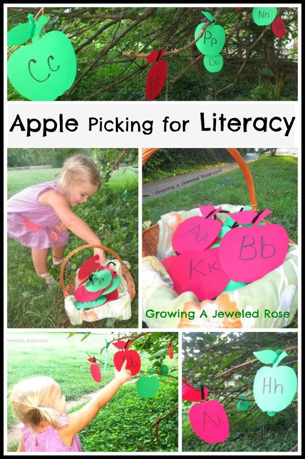 Apple picking for literacy- a fun way to practice letter recognition!  This would be fun to do as a class!  You could even bring a few branches indoors and set this activity up right inside the classroom!: Idea, Apples Fall, Fall Apples Theme, Apple Theme, Activities, Fun, Kid