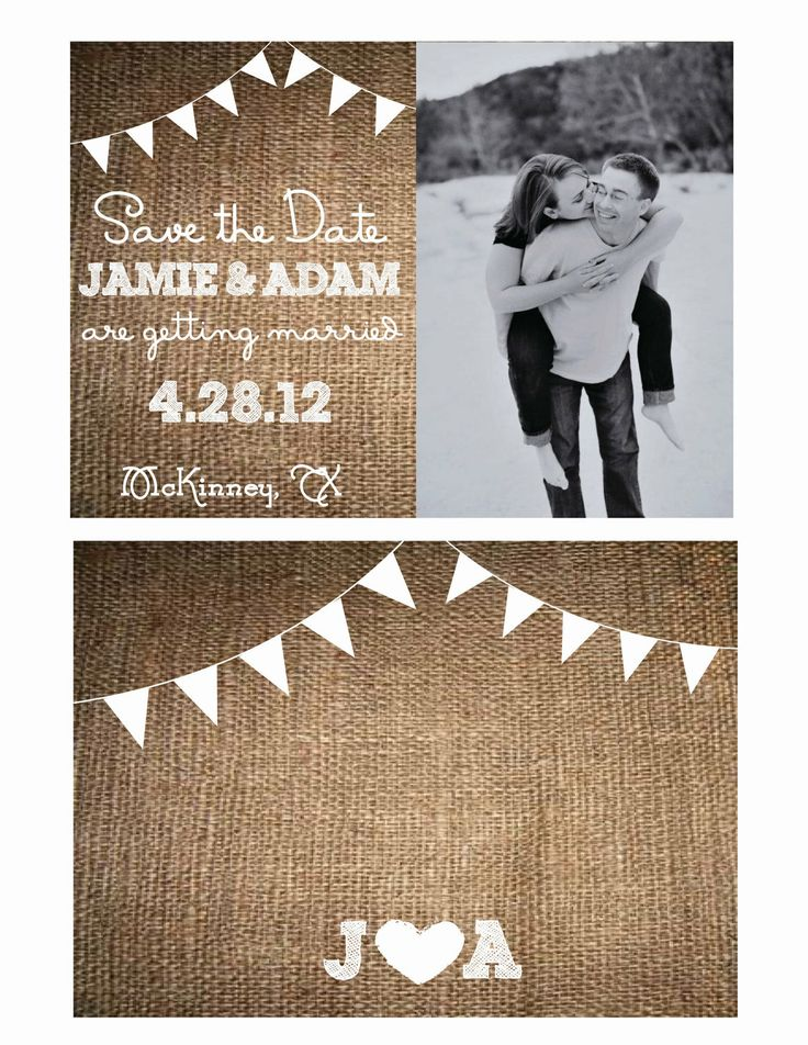 rustic burlap wedding invitation or save the date rustic wedding style with bunting - Faire Part Mariage Etsy