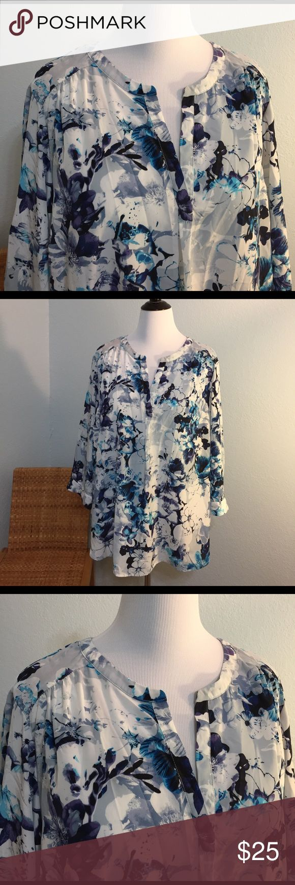 Beautiful floral blouse. Blue tones. Plus size Blue, gray, white, purple flower design blouse. Dalia collection woman. Flows beautifully, lightweight, silky feel, equivalent to about a size 20W dalia collection Tops Blouses