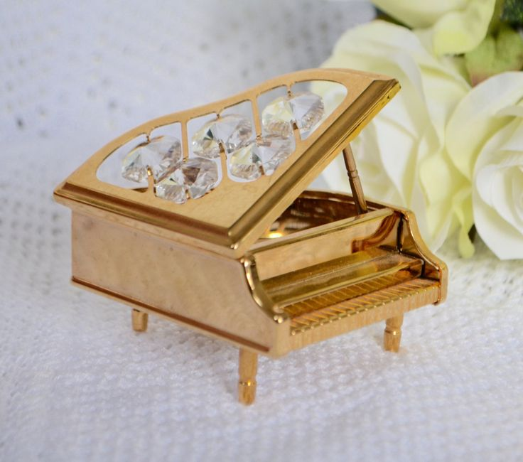 Baby Grand Piano Miniature Collectible Filigree Gold Like Brass  Home Decor  Baby Grand Pianos by StudioVintage on Etsy