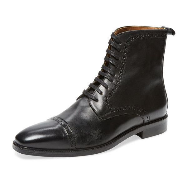 Handmade Men's Black ankle lace up boot, Mens Oxford black leather... ($180) ❤ liked on Polyvore featuring men's fashion, men's shoes, men's boots, mens boots, mens lace up boots, mens black lace up boots, mens leather lace up shoes and mens black shoes