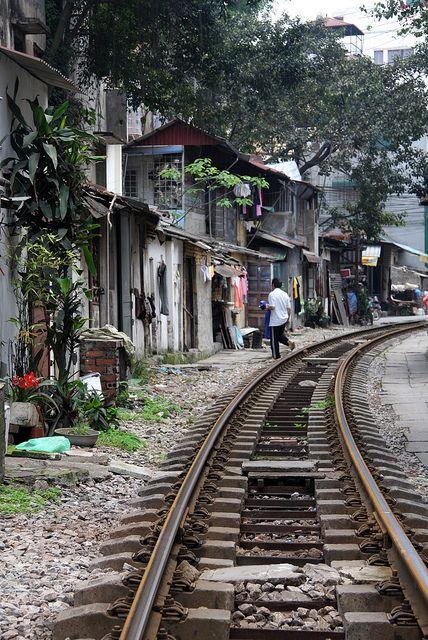 Pistas del tren de Hanoi, Vietnam