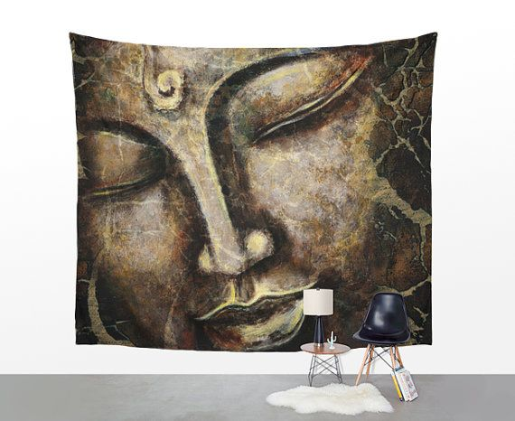 WALL TAPESTRY Buddha face painting wall hanging by UniqueArtHome