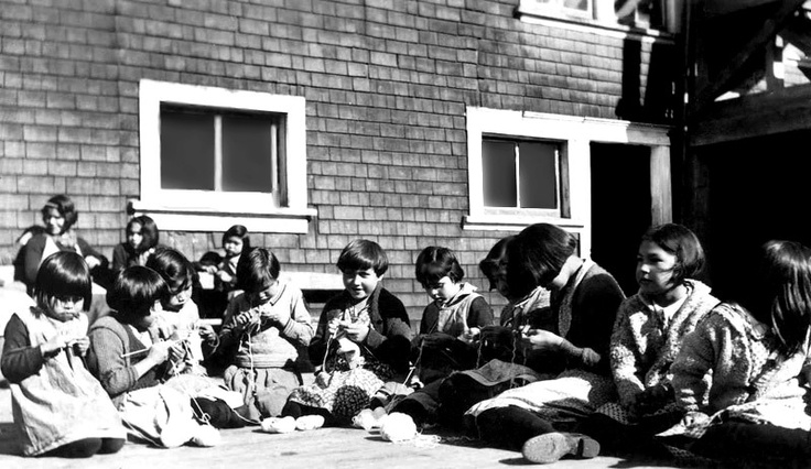 Knitting class, Ahousaht Indian Residential School, 1939.