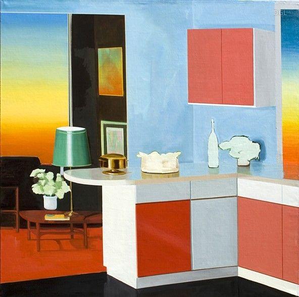 Painting, Sunset Room, 2014, David Ledger, oil on linen, 101cm x 101cm