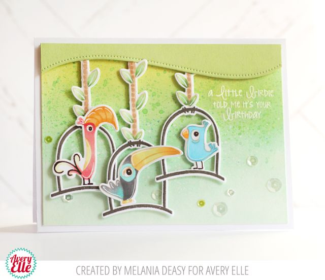 Melania Deasy for Avery Elle Supplies: Tweet Tweet Clear Stamps  Tweet Tweet Ellements Dotted Borders Ellements The Lucky Collection A2 Folded Cards  Lemon Grass Pigment Ink Pad Mint To Be Pigment Ink Pad