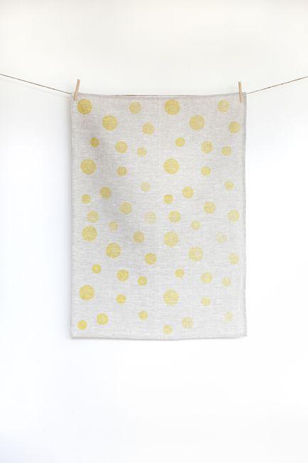 Handprinted Linen Tea Towel / Design name: Go Spot (yellow on oat linen) 50cm x 70cm, by Smitten Design