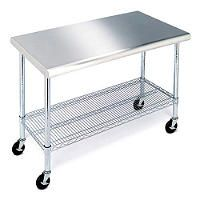 """Work Table with Stainless Steel Top - 49"""" - Sam's Club. This would be awesome for a rolling kitchen island!"""