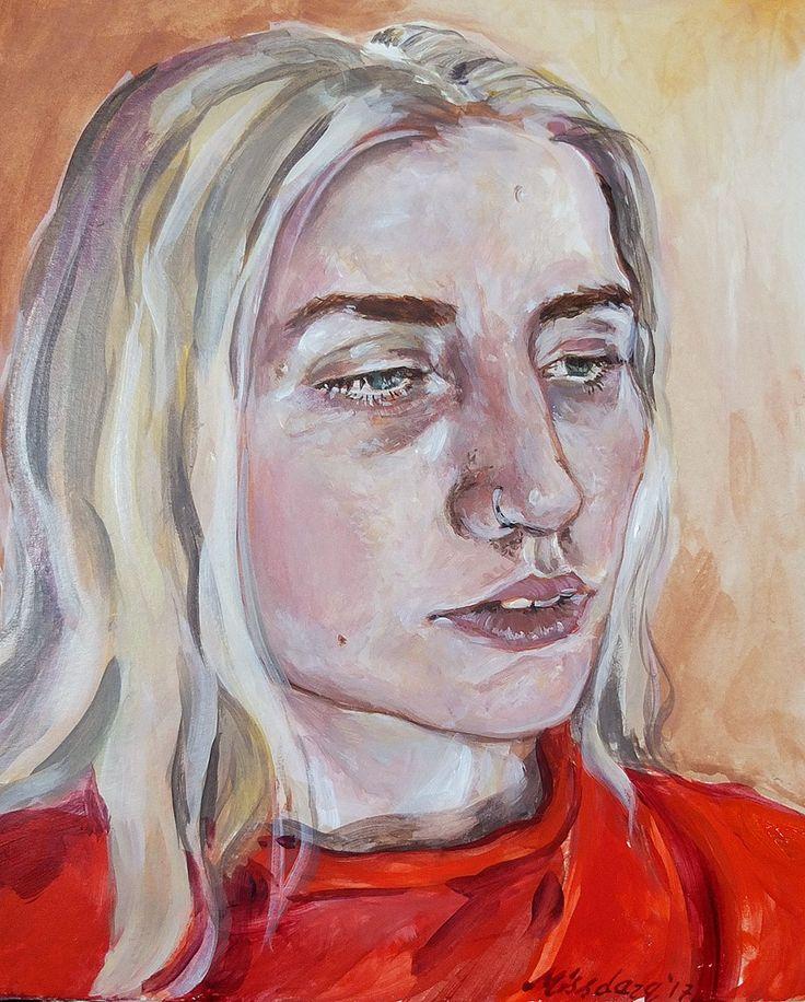 """Portrait 12 - Acrylic paint on 7x10"""" card. Approx 3 hours. #selfportrait #portrait #acrylicpaint   www.instagram.com/missdarq www.missdarq.com"""