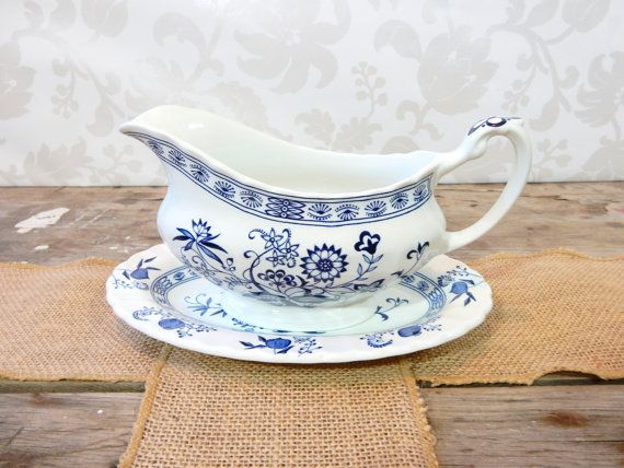 Gravy Boat with small plate Blue Stoneware by by littlecleoathome