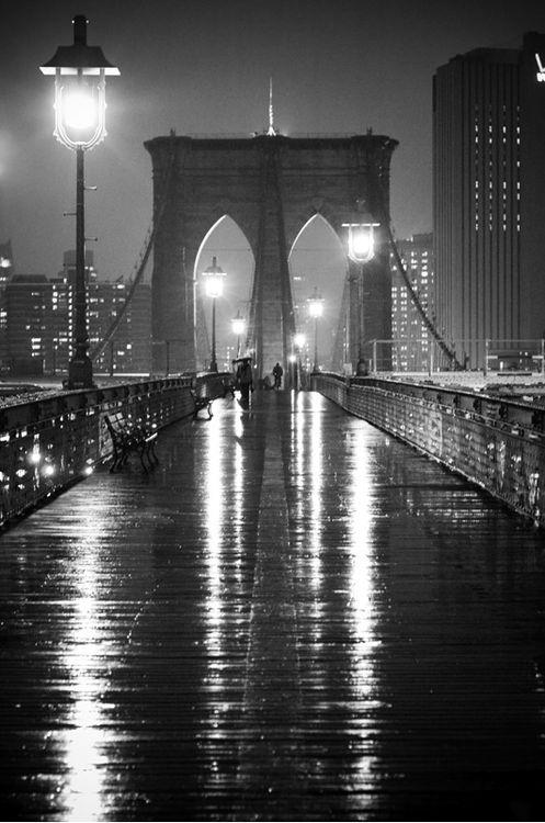 Rainy night on Brooklyn Bridge