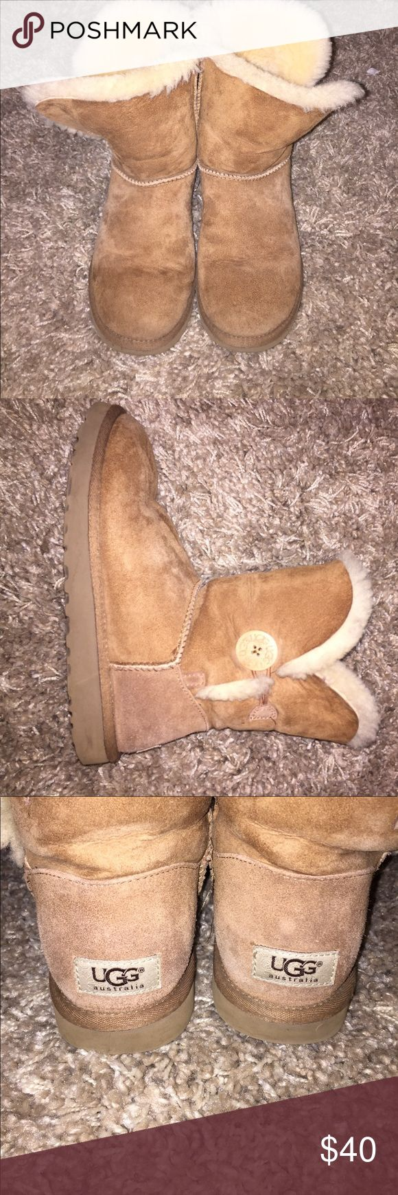 Tan ankle length Uggs 👡 Real Uggs in great condition! One of them has a missing button that can be replaced. Can't tell it's gone if you're wearing bootcut leggings or jeans over them. UGG Shoes Winter & Rain Boots