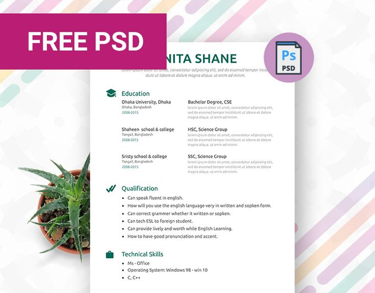 Fresher resume template psd templates