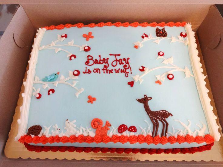 Woodland Animals Baby Shower Cake @Stefanie Hildebrand