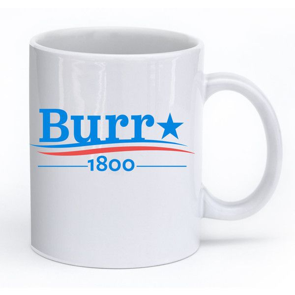 Hamilton Musical Broadway Aaron Burr 1800 Burr Election of 1800 Mug ($18) ❤ liked on Polyvore featuring home, kitchen & dining, drinkware, mugs, drink & barware, home & living, silver and silver mugs