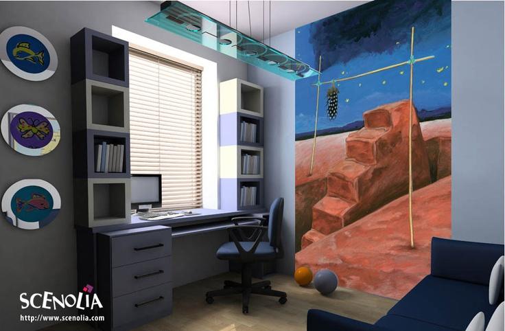Poster géant PLUME D'ETOILE http://www.scenolia.com/decor-mural-vertical/1277-decor-ciel-etoile-bruno-thery.html