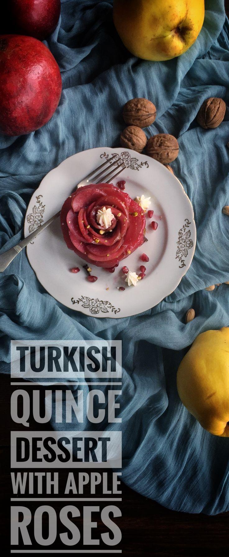 Quince Dessert With Apple Roses #quince #quincedessert #pipernigrum #ayva #ayvatatlısı #turkishdesserts #turkishfood #quincerecipes #gamzemutfakta
