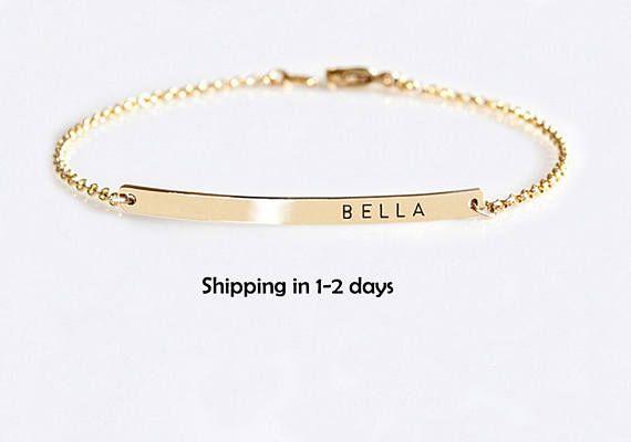 Gold Bar bracelet Engraved Roman numerals bracelet Wedding