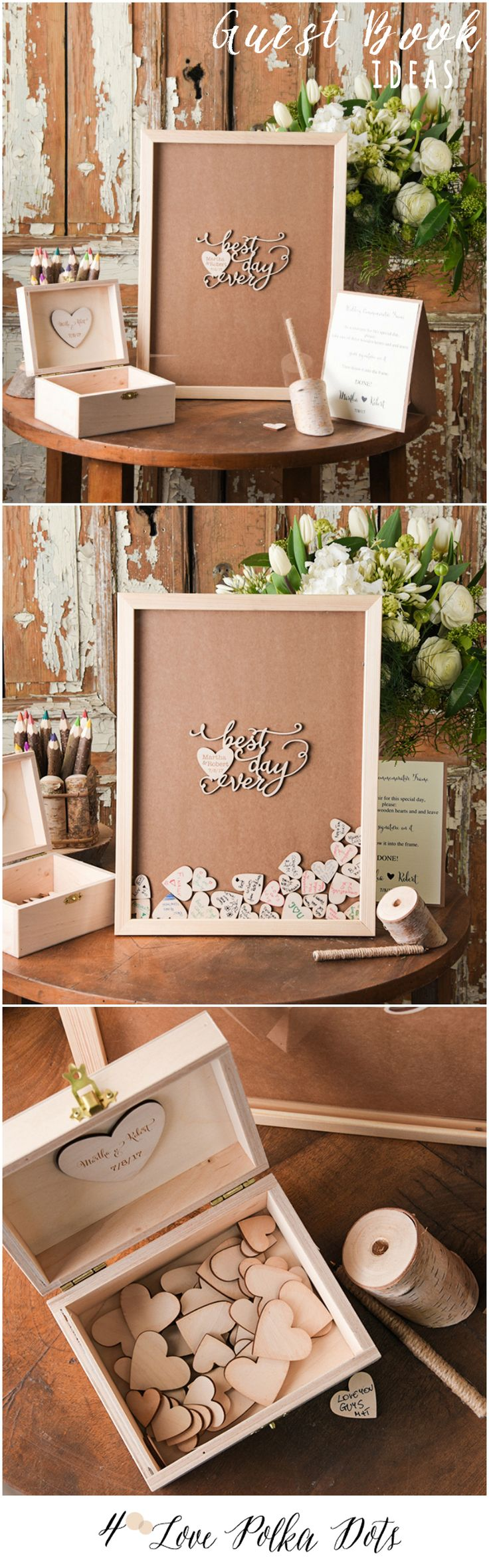 Wooden alternative wedding guest book drop box with custom engraving #sponsored
