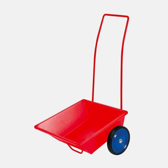 """Kinderanhänger aus rotem Metall mit blauen, vollgummibereiften Metallrädern zum Ziehen    Der """"Ziehmichel"""" ist eine besonders schönes Erfindung für das kindliche Spielen im Freien. Kleine Kinder ab ca. 2 Jahren, die eine Schubkarre noch nicht balancieren können, werden mit dem Ziehmichel, der auf zwei vollgummibereiften Metallrädern läuft, viel Freude haben: beim Transport von """"Werkzeugen"""", von gemeinsam zusammengerechtem Laub, zur Verladung von Sand, Steinen oder Spielsachen, für das…"""