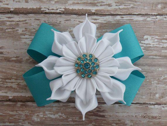 5 turquesa y flor de la cinta blanca del arco por 3BlossomsBoutique