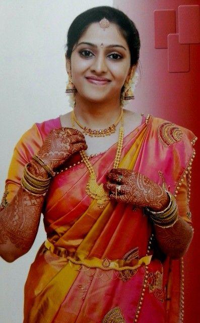 South indian bride in designer pure kanchipuram saree