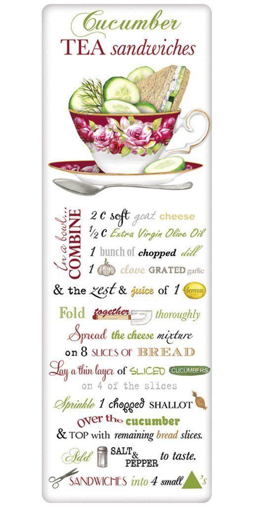 Cucumber Tea Sandwiches Recipe 100% Cotton Flour Sack Dish Towel Tea Towel: